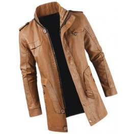 Mens Smart Look Genuine Sheepskin Tan Leather Long Trench Coat