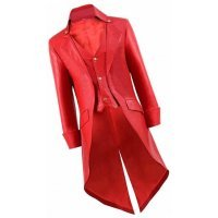 Mens Steampunk Style Genuine Sheepskin Red Leather Long Trench Coat