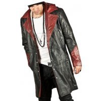 Mens Stylish Hooded Genuine Sheepskin Black and Burgundy Leather Long Trench Coat
