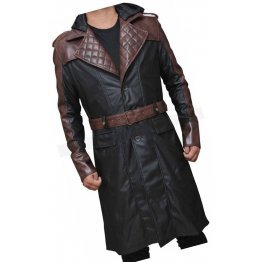 Mens Unique Style Hooded Real Sheepskin Black Long Leather Trench Coat