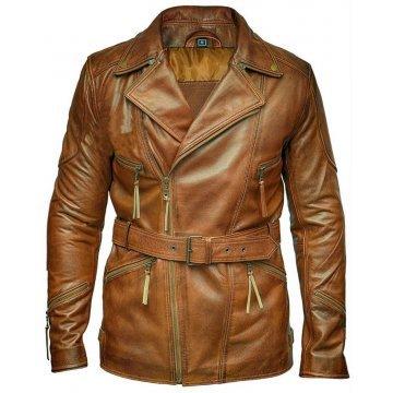Mens Vintage Biker Style Real Sheepskin Distressed Brown Leather Coat