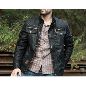 Custom Made Designer Slim Fit Black Leather Jacket for Men