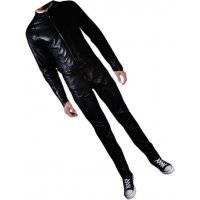 Mens Biker style real sheepskin black motorcycle leather jumpsuit