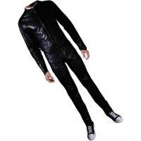 Mens Biker style real sheepskin black motorcycle leather jumpsuit