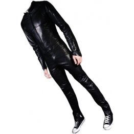 Mens Biker style leather jumpsuit soft lightweight sheepskin real leather black motorcycle leather jumpsuit available in all regular sizes, plus sizes, petite sizes and custom made sizes