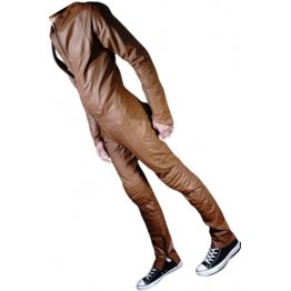 Mens Biker style real sheepskin brown motorcycle leather jumpsuit