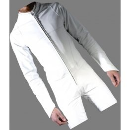 Mens Biker style real sheepskin white motorcycle leather jumpsuit