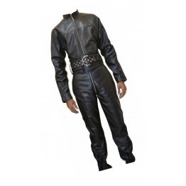 Mens Bold Fashion Real Sheepskin Black Leather Jumpsuit