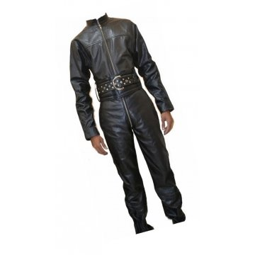 Mens Bold Fashion Real Sheepskin Black Leather Jumpsuit