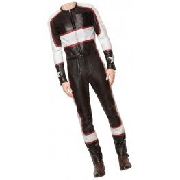Mens Classy Racing Real Sheepskin Black And White Leather Jumpsuit