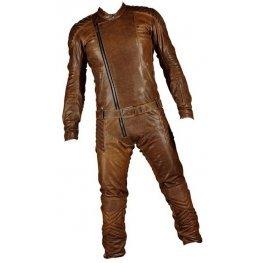 Mens Elegant Style Real Sheepskin Vintage Brown Leather Jumpsuit