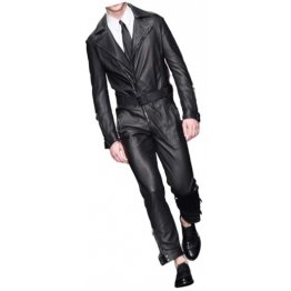 Mens Formal Wear Real Sheepskin Black Leather Jumpsuit