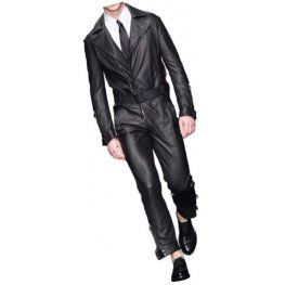 Mens Formal Wear Real Sheepskin Black Leather Jumpsuit