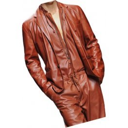 Mens Glamorous Real Sheepskin Brown Leather Jumpsuit With Blazer