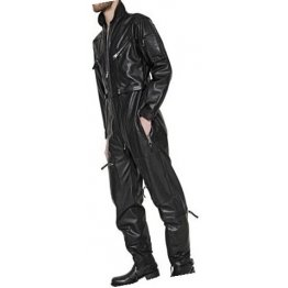 Mens High Fashion Real Sheepskin Black Leather Jumpsuit