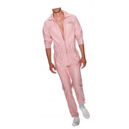 Mens New Fashion Real Sheepskin Baby Pink Leather Jumpsuit