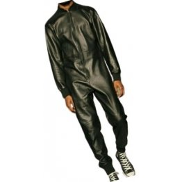 Mens Ribbed Collar Real Sheepskin Black Leather Jumpsuit