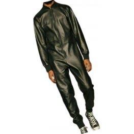 Mens Ribbed Collar Real Sheepskin Black Leather Jumpsuit