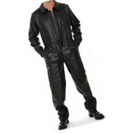 Mens Smart Look Real Sheepskin black Leather Jumpsuit