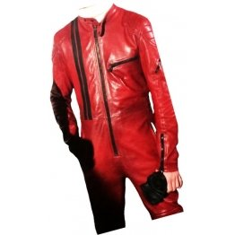 Mens Trendsetting Racing Real Sheepskin Red Leather Jumpsuit