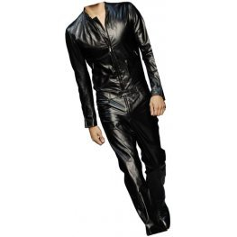 Mens Trendy Real Sheepskin black Leather Jumpsuit