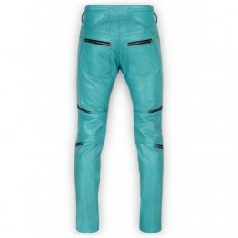 Mens Cool Style Bright Blue Leather Biker Pants