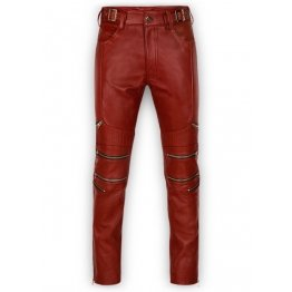 Mens Cool Style Cherry Red Leather Biker Pants