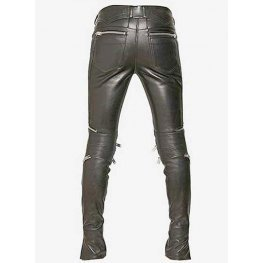 Mens Rockstar Style Genuine Black Leather Biker Pant
