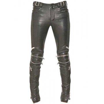 Mens Rockstar Style Genuine Black Leather Biker Pant