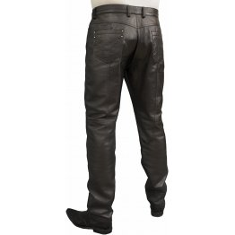 Mens Smart Casual Black Leather Trousers Jeans Pants