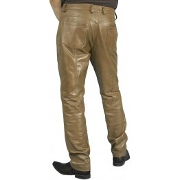 Mens Smart Casual Brown Leather Trousers Jeans Pants