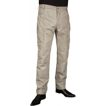 Mens Smart Casual Cream White Leather Trousers Jeans Pants