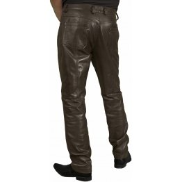 Mens Smart Casual Dark Brown Leather Trousers Jeans Pants