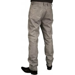 Mens Smart Casual Gray Leather Trousers Jeans Pants
