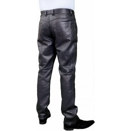 Mens Smart Casual Navy Blue Leather Trousers Jeans Pants
