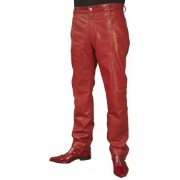 Mens Smart Casual Red Leather Trousers Jeans Pants
