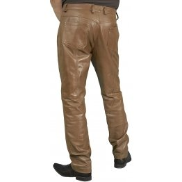 Mens Smart Casual Tan Leather Trousers Jeans Pants