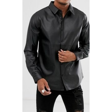 Mens Awesome Look Real Sheepskin Black Leather Shirt