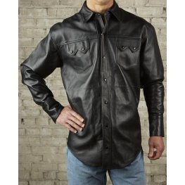 Mens Exceptional Look Real Sheepskin Black Leather Shirt