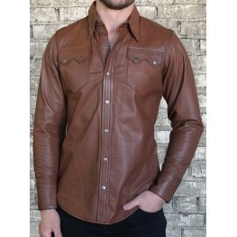 Mens Exceptional Look Real Sheepskin Brown Leather Shirt