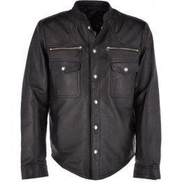 Mens Finely Crafted Real Sheepskin Black Leather Shirt