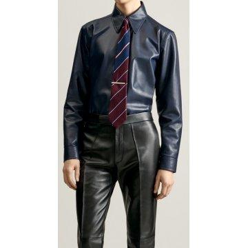 Mens Formal Wear Real Sheepskin Navy Blue Leather Shirt