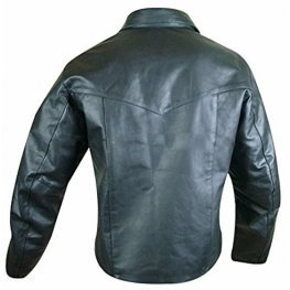 Mens Lace-Up Front Real Sheepskin Black Leather Shirt