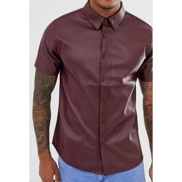 Mens Street Style Short Sleeve Real Sheepskin Burgundy Leather Shirt