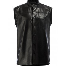 Mens Unique Style Sleeveless Real Sheepskin Black Leather Shirt