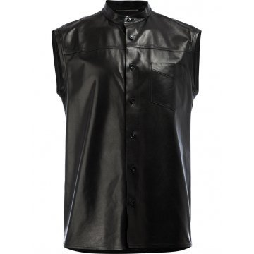 Mens Unique Style Sleeveless Real Sheepskin Black Leather Shirt