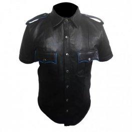 Mens Very Hot Genuine Black & Blue Leather Shirt