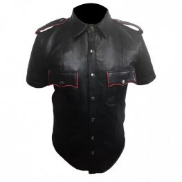 Mens Very Hot Genuine Black & Red Leather Shirt