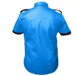 Mens Very Hot Genuine Blue & Black Leather Shirt