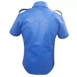 Mens Very Hot Genuine Electric Blue Leather Shirt